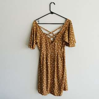 Finders Keepers - Size S - Dress in Coffee with White and Tan Autumn Leaves Flutter Sleeves and Crossover Back