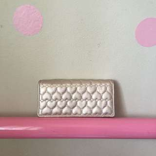 Forever New Quilted Hearts Light Gold Wallet