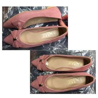 全新 粉紅 斯文 返工 平底鞋