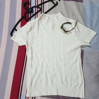 WHITE Mock Neck Knitted Tee/Top
