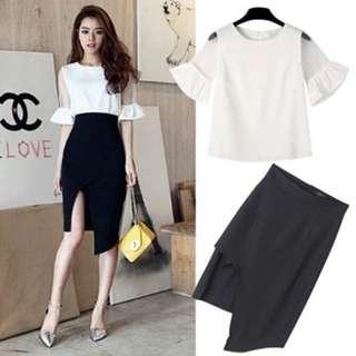 Blouse & Slitted Skirt
