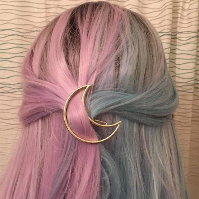 3 X Gold Moon Hair Pins / Barette / Clip