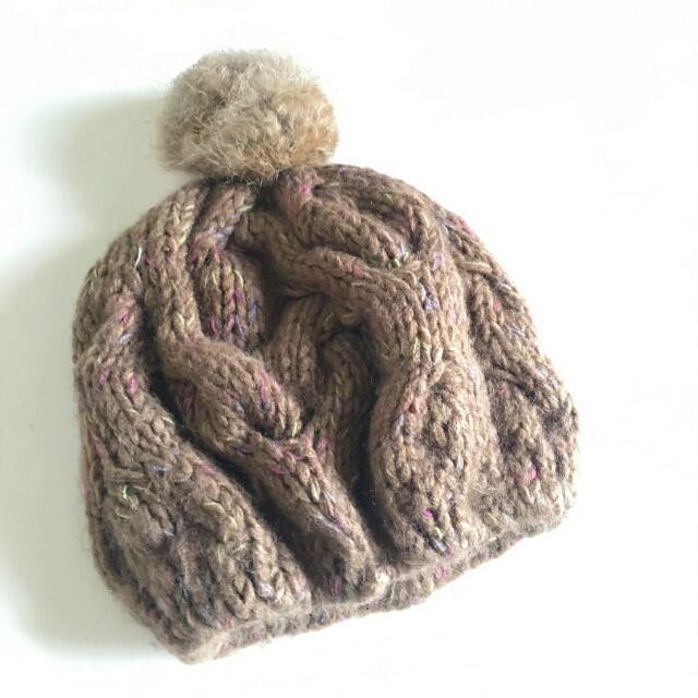 正韓好質感毛球毛線護耳保暖帽