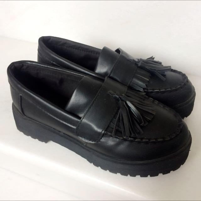 流蘇復古厚底鞋