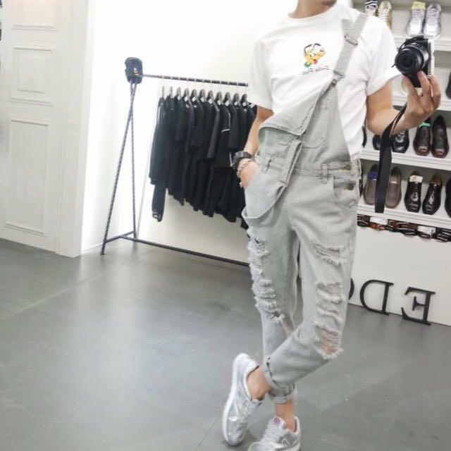 灰色吊帶褲&高飛上衣