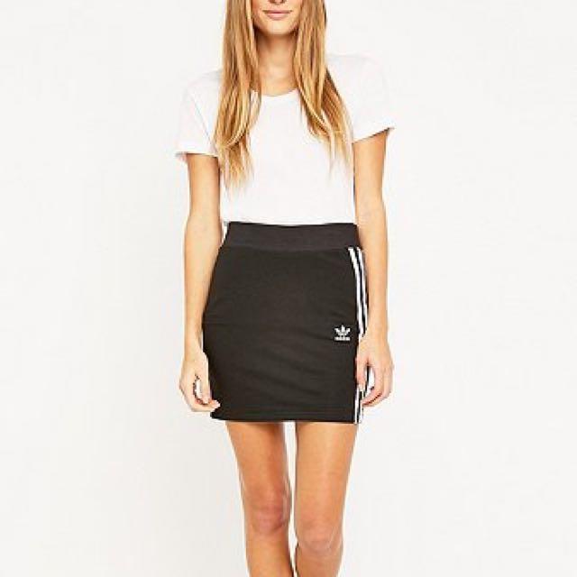 Adidas three stripe black mini skirt