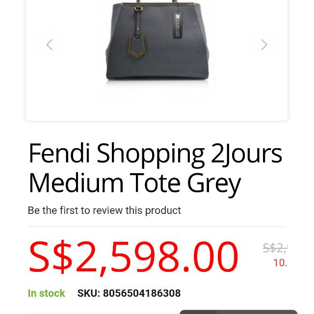 c244f9d49e4b Authentic Fendi 2Jours Medium Textured Tote Leather Shopper in Grey Bnib