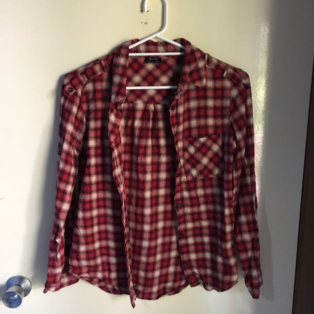 Bardot Red Check Shirt Size 6