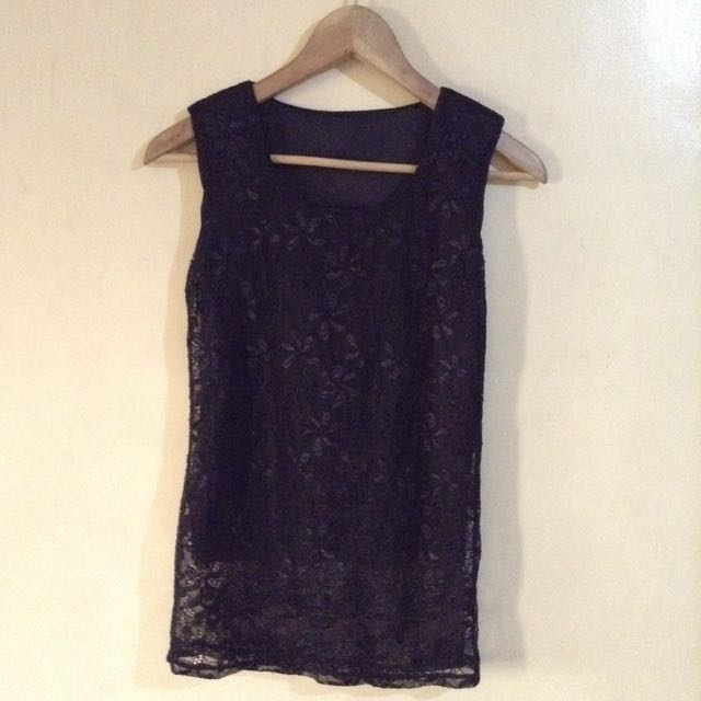 Black Laced Sleeveless Top