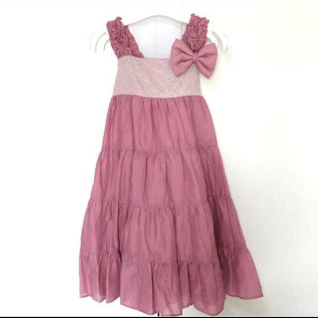 BLOOMB GIRL DUSTY ROSE DRESS WITH DETACHABLE BOW (1-2 Years)