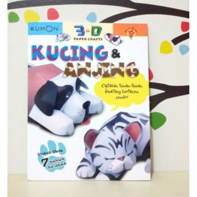 Buku anak KUMON 3D Kucing & Anjing