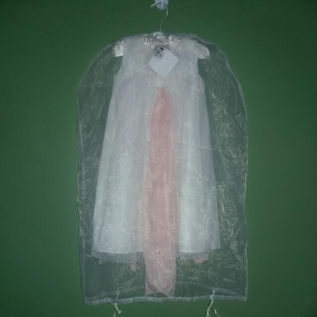 Christening Dress White And Peach Ribbon