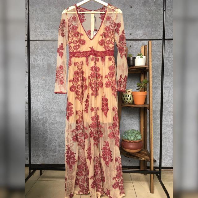 Elegant Sheer Embroidered Nude Long Dress