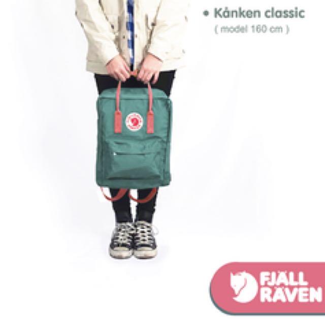 二手Fjällräven Kånken秋冬新配色 Classic空肯 霜綠*蜜桃粉 原價2400