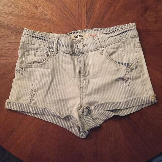 Garage Striped Jean Shorts