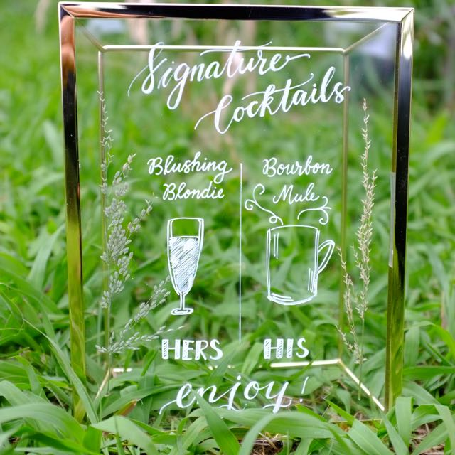 Glass Handwritten Calligraphy Wedding Signs - Drink list, Wedding Menu