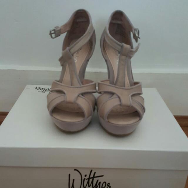 Grape Lilac Nude Wedge Heels