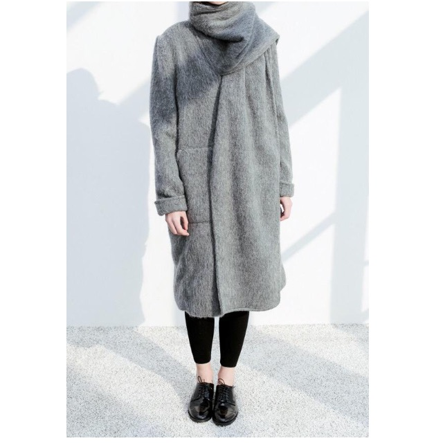 **RESERVED** Grey Wool Coat with Scarf