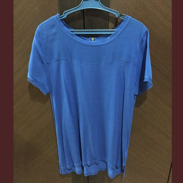 H&M Royal Blue Shirt (Chiffon&Cotton)