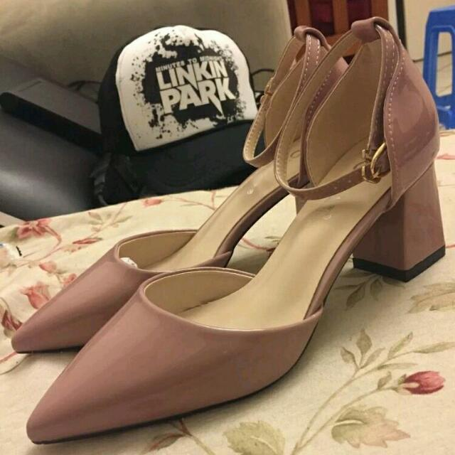 lady patent shoes, pump square block heels