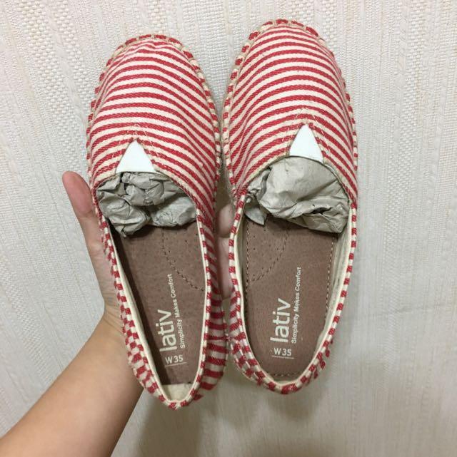 Lativ紅白條紋編織包鞋