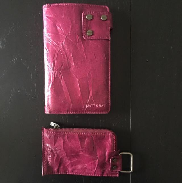 Matt & Nat Pink Wallet And Change Purse