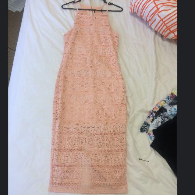 Midi Tight Dress With Split At Back