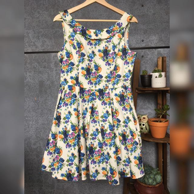 Miss Cherry A-line Full Skirt Floral Mini Dress