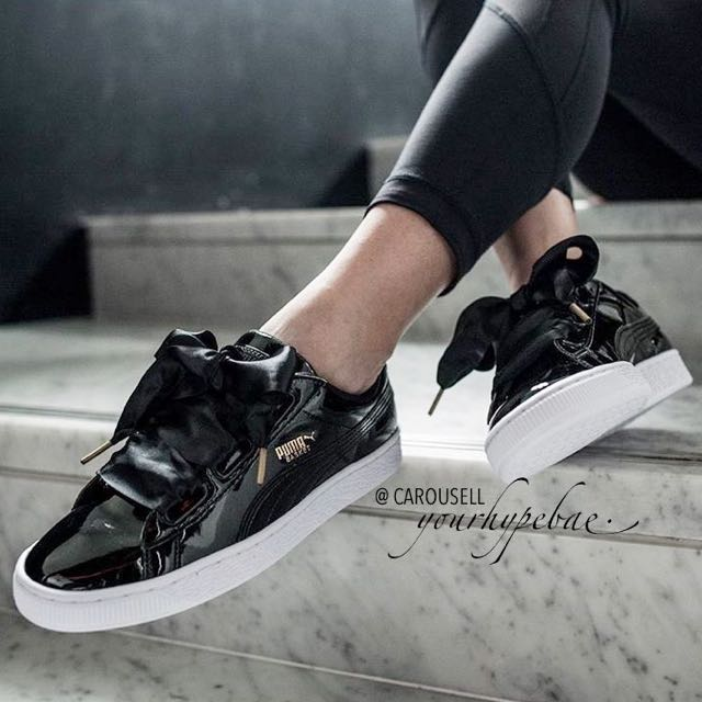 e5af01e6840e NEW  Puma Basket Heart Satin Ribbon Bow In Black