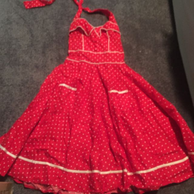 Rockabilly Red And White Polka Dots Dress For Sale (hell Bunny Vixen)