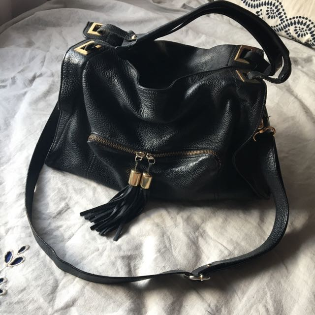 SANDRO Adel Black Leather Bag