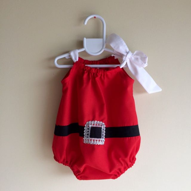 Santa Christmas Play Suit Baby Girls Outfit Handmade