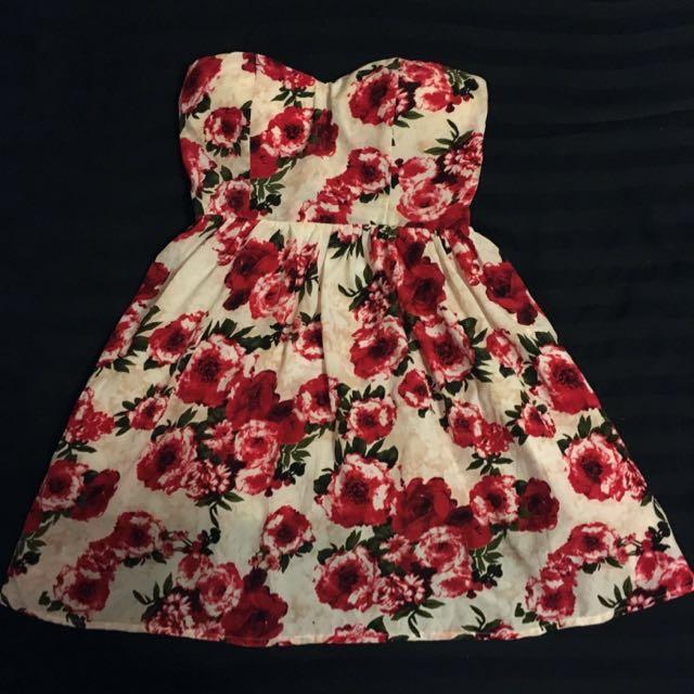 Strapless Flower Dress