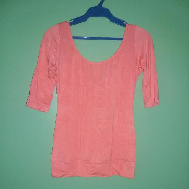 ***SALE***Tomato Tangerine Peach Sexy Back Scoop Blouse