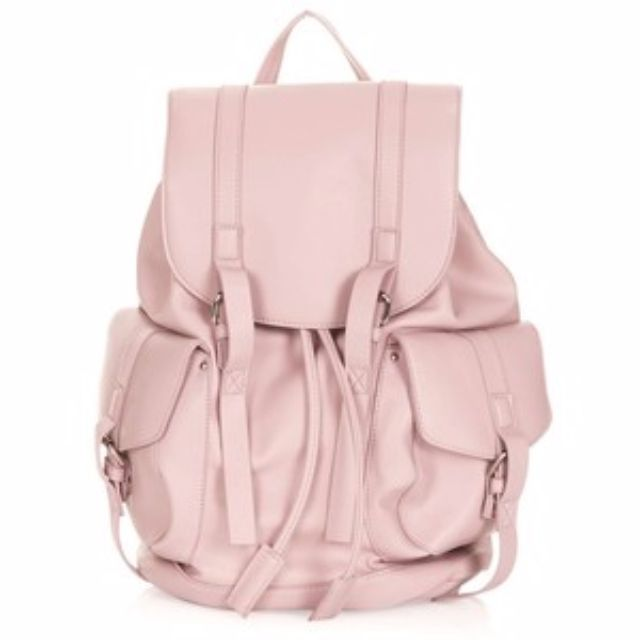 Topshop Faux Leather Pink Backpack