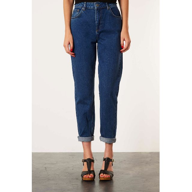 Topshop Mom Jeans in Dark Blue