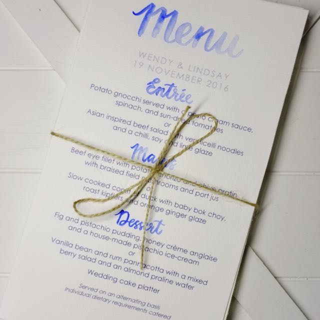 Watercolour Calligraphy Wedding Menu - Reception Menu, Custom Menu, Calligraphy Menu, Dining decoration, Centerpieces