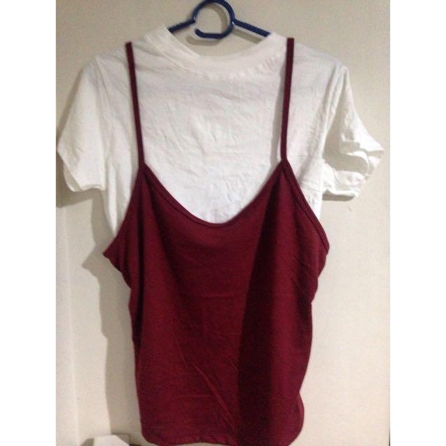 white shirt w/ spaghetti strap