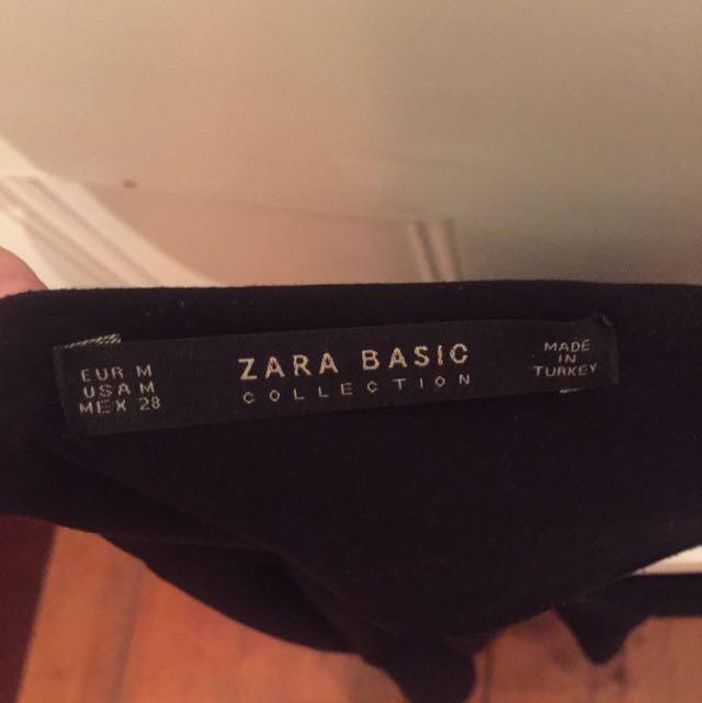 Zara Black Lace Low Cut Flare Dress