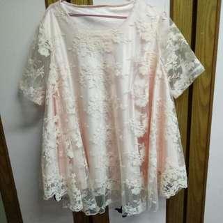橘膚花花蕾絲袖短洋裝上衣