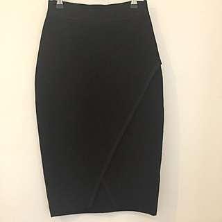 Sportsgirl Black Asymmetrical Ribbed Skirt
