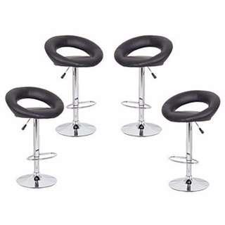 4x Black PU Leather Circular Kitchen Bar Stools