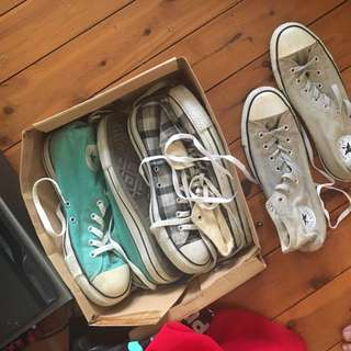 3 Pairs of High Top Converse