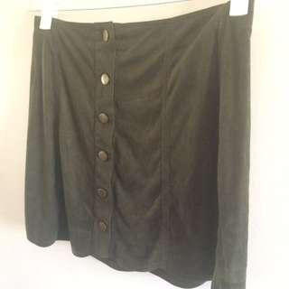 Khaki Velvet Scollop Cut Skirt