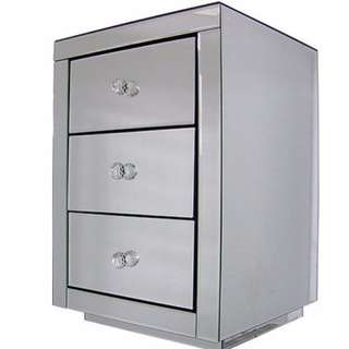 Mirrored Bedside Table Chest 3-Drawer