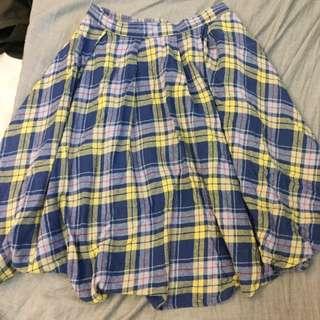 日本帶回 古著風格 格紋及膝裙 後鬆緊帶