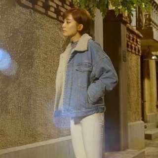 (實搭照)古力娜札同款 保暖羔羊領個性牛仔外套 韓版 女主角 韓劇 穿越劇 Zara fashionforyes