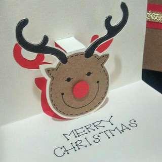 Red-nose Raindeer Pop Up Christmas Card