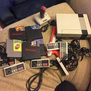 Nes console controllers and games