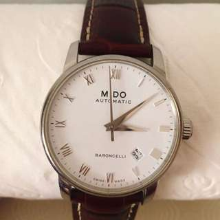 DESIGNER SWISS MIDO WATCH HIGH END Classic Brown Leather Baroncelli 38mm Brown Leather Band Steel Case Automatic Silver Chrome White Dial Analog Watch M8600.4.26.8 Men Gentlemen Possible Unisex